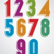 Colorful comic animated numbers with white outline...