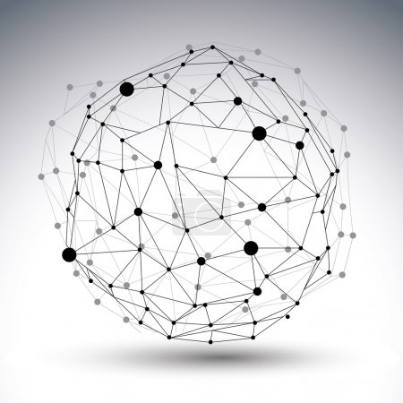 Illustration for 3D mesh modern network abstract figure isolated on white background,  dimensional mesh wireframe structure. - Royalty Free Image