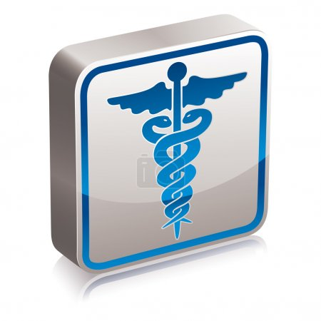 Illustration for Caduceus medical symbol, 3d vector icon or emblem. - Royalty Free Image