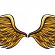 Golden wings made in classic heraldic style, vecto...