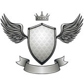 Winged shield with blank ribbon