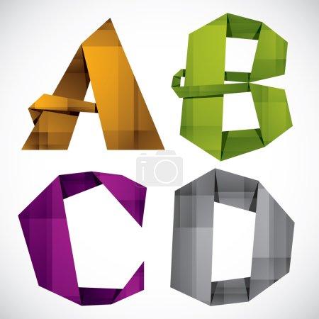 Origami A B C D.