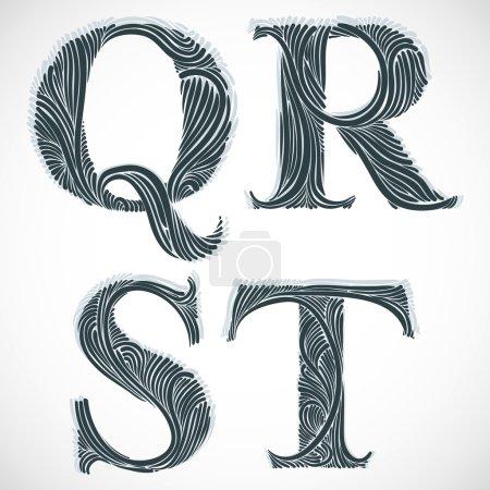 Vintage letters Q R S T.