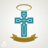 Religiöse Kreuz Emblem mit Nimbus und dekorativer Schleife, Geist