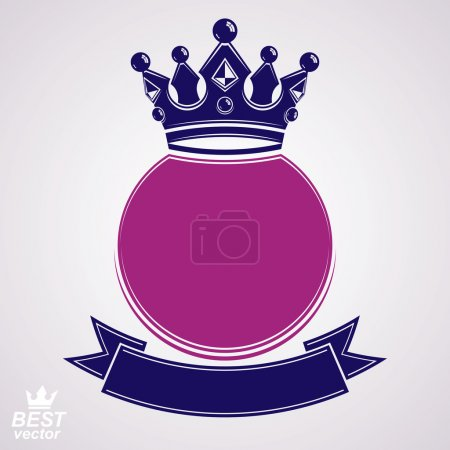 Vector circle with 3d decorative royal crown and festive ribbon,