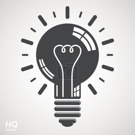 Illustration pour Ampoule électrique symbole isolé sur fond blanc. Icône conceptuelle de tempête de cerveau vectoriel - Thème de solution de problème d'entreprise. Élément de conception d'idée d'entreprise. Emblème graphique web insight . - image libre de droit