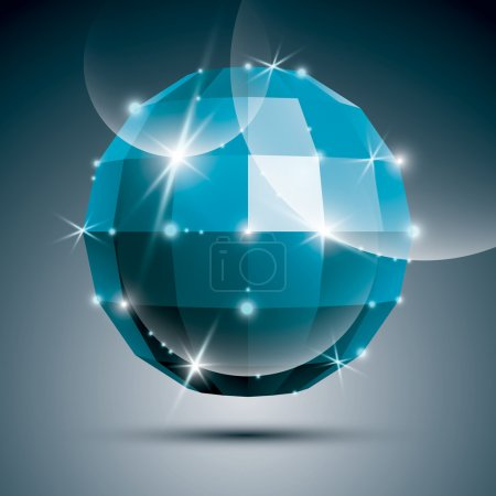 Party 3D blue glossy mirror ball created from geometric figures.