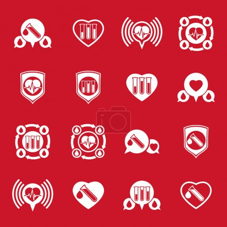 Cardiology and blood transfusion vector icons set, creative symb