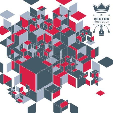 Illustration pour Abstraction numérique vectorielle 3d, illustration de perspective polygonale géométrique avec des cubes. Eps10 flou fond technique avec des formes superposées. Thème technologie Internet . - image libre de droit