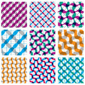 Set of multicolored grate seamless patterns with parallel ribbons and geometric figures transparent symmetric bright wavy tiles infinite geometric surface textures with diamonds and squares colorful abstract tiling