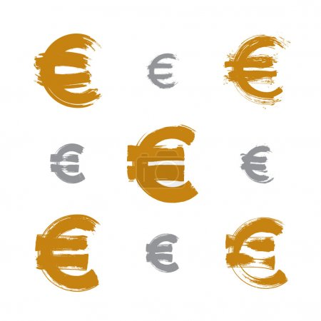 Collection of hand-painted yellow Euro icons isolated on white b