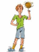 Bright vector full-length drawing of a red-haired cool Caucasian teenager with a soccer ball colorful cartoon hand-drawn youngster wearing green t-shirt shorts and sneakers colorful illustration of a standing boy with a spinning ball on his finger