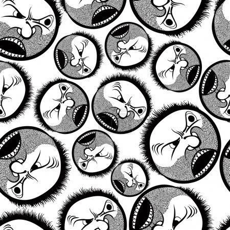 Illustration for Faces seamless background, vector cartoon style pattern, black and white lines hand drawn illustration. - Royalty Free Image