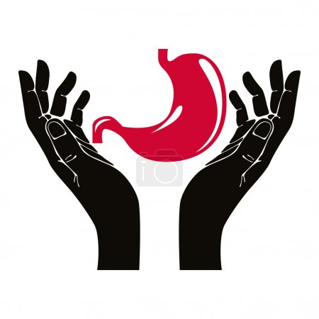 Hands with human stomach vector symbol.