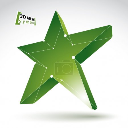 3d mesh green star sign isolated on white background, colorful e
