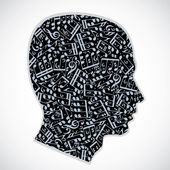 Vector silhouette of a head filled with musical notes and symbol