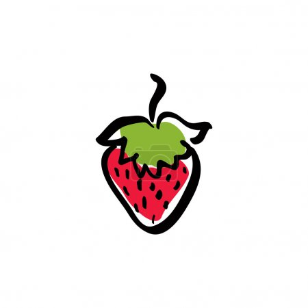 Red illustrated strawberry, vector ecology icon.