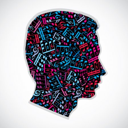 Bright expressive silhouette of a head filled with...