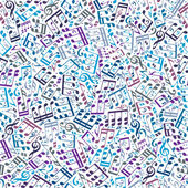 Vector colorful seamless pattern with musical notes and treble c