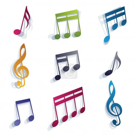 Vector bright expressive jolly musical notes and s...