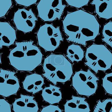 Blue skulls over black background seamless pattern, geometric co