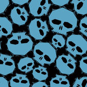 Blue skulls over black background seamless pattern geometric co