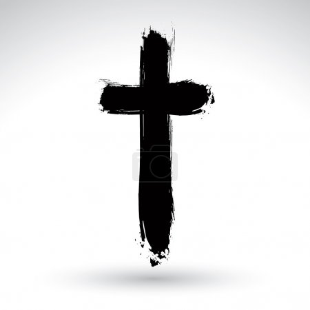 Illustration for Hand drawn black grunge cross icon, simple Christian cross sign, hand-painted cross symbol created with real ink brush isolated on white background. - Royalty Free Image