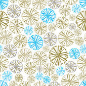 Light colorful floral background with dandelions decorative snowflake seamless pattern