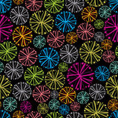 Colorful floral background with dandelions decorative snowflake seamless pattern