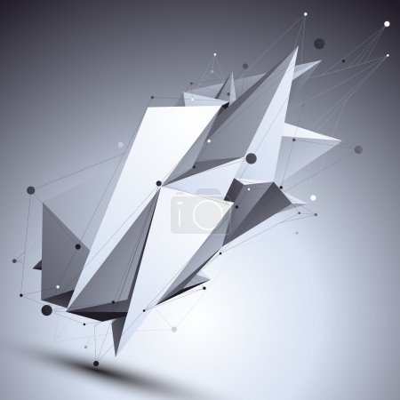 Geometric monochrome polygonal structure with wire...