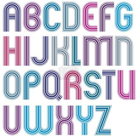 Grandes letras mayúsculas coloridas con esquinas redondeadas, paralelas