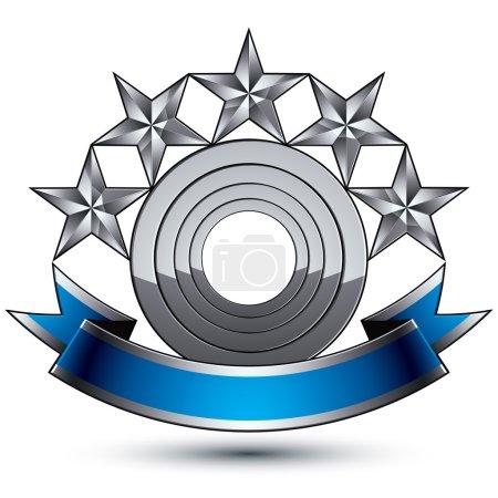 Illustration pour Icône bleu et gris brillant 3d héraldique - peut être utilisé dans la conception web et graphique, étoiles argentées à cinq pointes placées sur un élément magnifique arrondi avec un ruban élégant, vecteur EPS 8 clair . - image libre de droit
