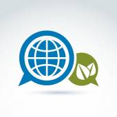 Globe with leaves growing and speech bubbles icon, ecological en