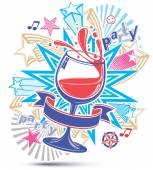 Celebrative leisure backdrop with musical notes glass goblet of