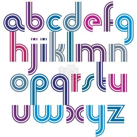 Letras minúsculas brillantes con esquinas redondeadas, esférica animada