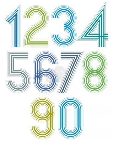 Bright cartoon striped numbers with rounded corners.