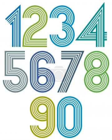 Números redondeados a rayas de dibujos animados brillantes con contorno .