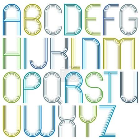 Redondeado grandes dibujos animados letras mayúsculas alegres, a rayas de color claro