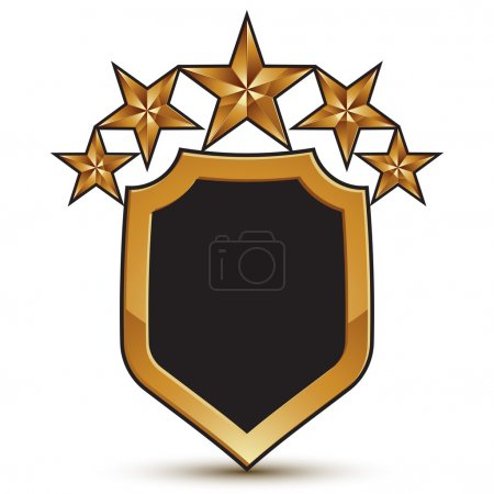 Festive vector golden shield emblem with five stars, 3d branded