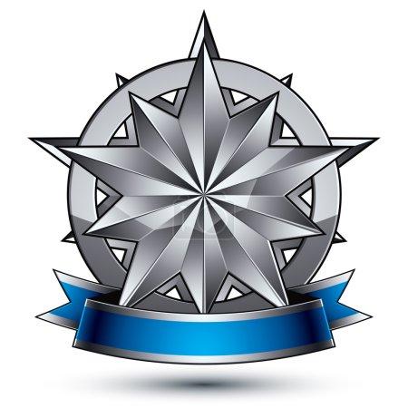 Illustration pour Modèle vectoriel glamour avec symbole polygonal étoile d'argent, idéal pour une utilisation dans le web et la conception graphique. Icône héraldique conceptuelle avec merveilleuse bande lisse, vecteur eps8 clair . - image libre de droit