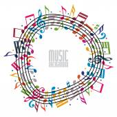 Colorful music background with clef and notes music sheet in round frame musical theme template for your design