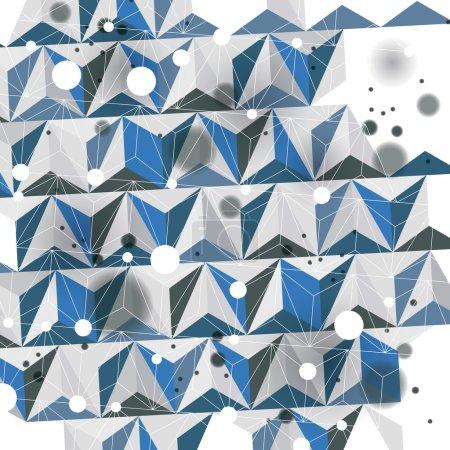 Illustration pour Construction numérique moderne, fond dimensionnel abstrait avec des figures géométriques. 3d perspective illusoire facette couverture, eps10 vecteur illustration compliquée. Op art toile de fond . - image libre de droit
