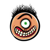Shocked cartoon face with one eye vector illustration