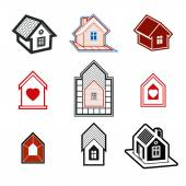 Simple cottages collection real estate and construction theme Houses  illustration with a heart symbol  Honeymoon suites hotel rooms for newlyweds