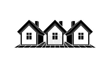 Monochrome cottages illustration