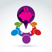 Financial piggy bank  icon