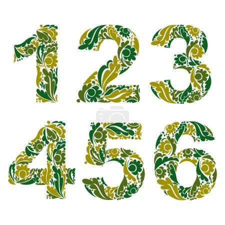 Illustration pour Numération vectorielle décorée de feuilles vertes saisonnières, 1, 2, 3, 4, 5, 6. Numéros ornementaux vintage . - image libre de droit