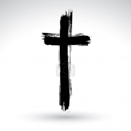 Black grunge cross icon