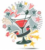 Festive illustration and  martini goblet