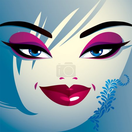 Coquette woman eyes and lips